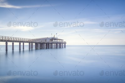 Pier or jetty, beach and sea. Lido di Camaiore, Versilia Tuscany Italy