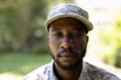 Portrait of an African American man wearing a military uniform