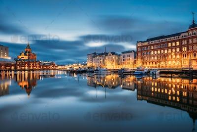 Helsinki, Finland. View Of Kanavaranta Street With Uspenski Cathedral And Pohjoisranta Street In