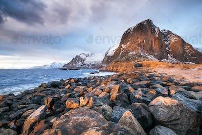 Lofoten islands in the Norway. Winter landscape. Travel image