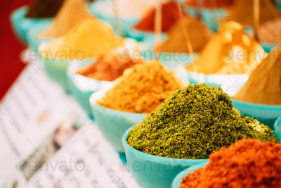 Close View Of Masala Curry, Bright Colors Fragrant Seasoning, Condiment In Tray On Local Food Market