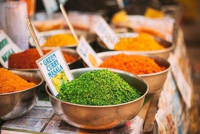 Canacona, Goa, India. Close View Of Coconut Green Masala, Bright Green Color Fragrant Seasoning