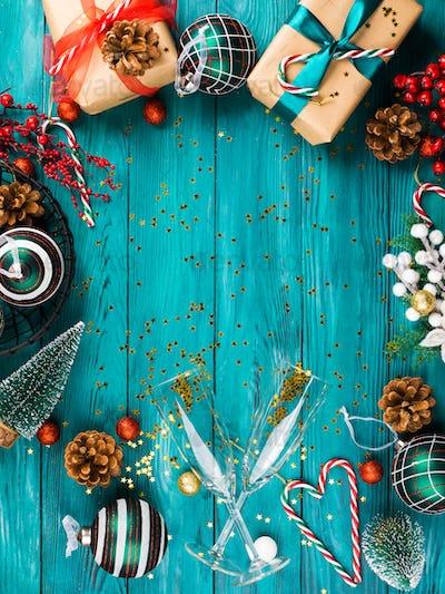 Christmas new year festive frame background