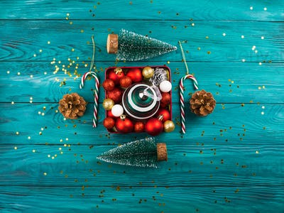 Christmas ornament in red box. Holiday mood