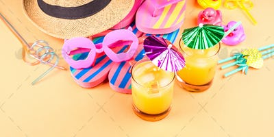 Vacation on the beach concept with summer cocktail