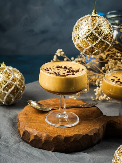 Frappe coffee glace in glasses. Christmas dessert
