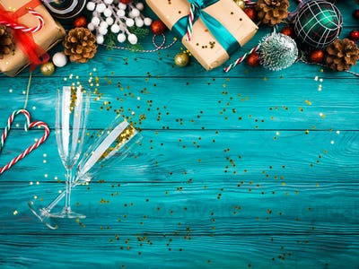 Christmas new year festive background with flutes
