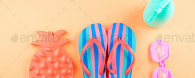 Vacation on the beach with flip flops, glasses