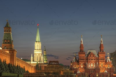 54152,Illuminated ornate buildings, Moscow, Russia