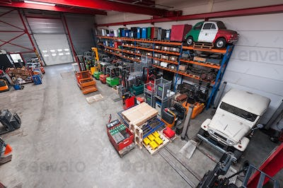 55115,High angle view of machinery in warehouse