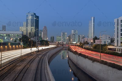 45088,Freeway Passing Downtown Buildings At Night