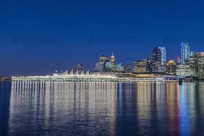 54718,Waterfront skyline illuminated at night, Vancouver, British Columbia, Canada,