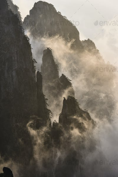 54358,Fog rolling over mountains, Huangshan, Anhui, China,