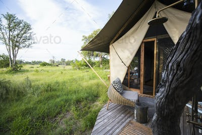 Exerior of a tent, tourist accomodation in a safari camp.