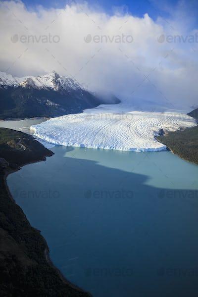 55003,Aerial view of glacier in rural landscape, El Calafate, Patagonia, Argentina