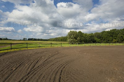 54136,Tire tracks in riding ring on horse farm