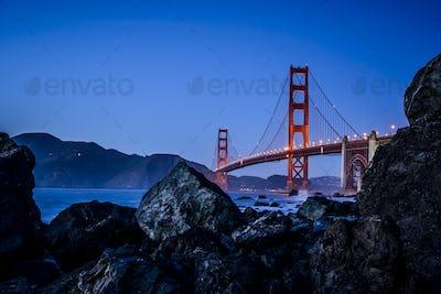54936,View of Golden Gate Bridge from beach, San Francisco, California, United States