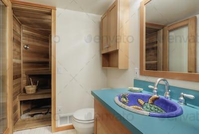 54473,Sauna room in modern bathroom