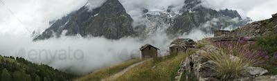 54509,Stone cottages near Mt Blanc trail, Bertone Refuge, Italy