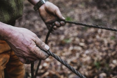 High angle close up of man holding reins of a work horse in a forest.