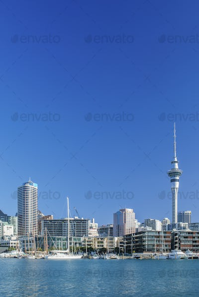 53828,Auckland skyline on waterfront, Auckland, New Zealand
