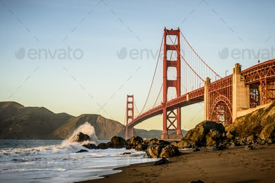54935,View of Golden Gate Bridge from beach, San Francisco, California, United States