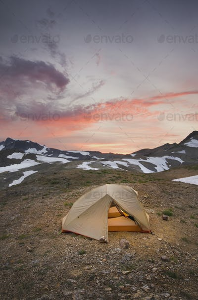54845,Tent at campsite in snowy mountain landscape