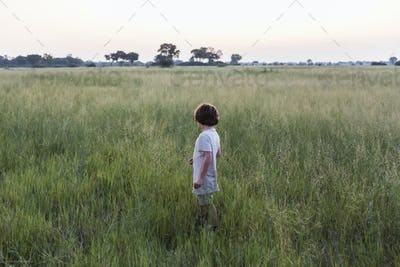 6 year old boy in field of grass, Botswana
