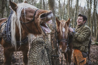 Logger standing in a forest camp with two of his work horses, laughing while one horse is neighing.