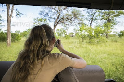 Rear view of a thirteen year old girl photographing elephants under trees, from a safari jeep