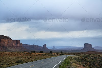 45658,Rock formations and road, Arizona, United States