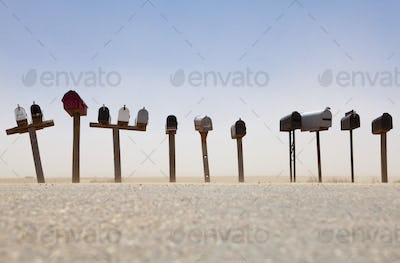 50610,Rows of Mailboxes and Desert Dust