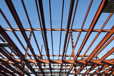50487,Steel Frame of Building. Horizontally framed shot.
