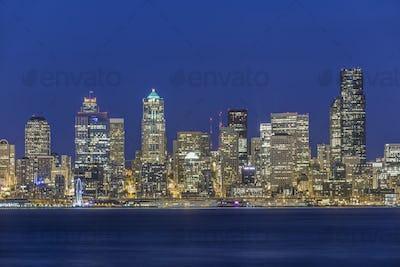 53987,City skyline lit up at night, Seattle, Washington, United States