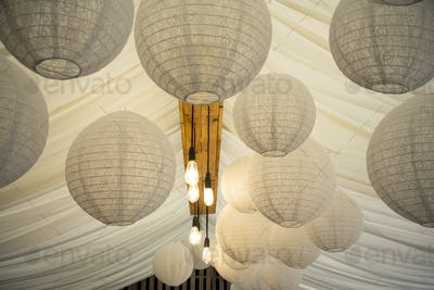 Japanese Rice Paper lamps and fabric canopy, decorations