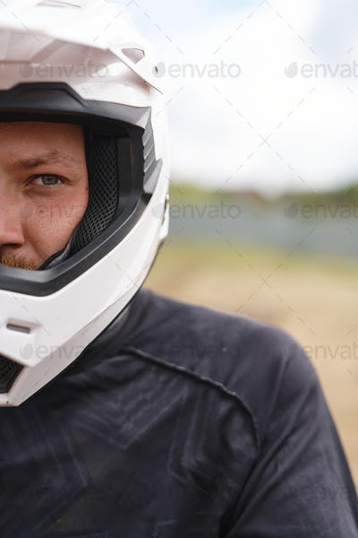 Brutal motorcyclist in helmet