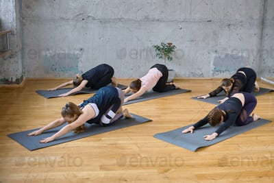 Group of women doing stretching exercise in hall