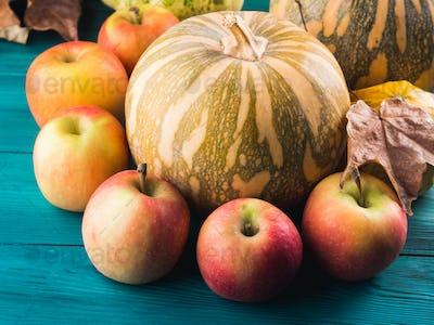 Autumn harvest concept with pumpkin apples