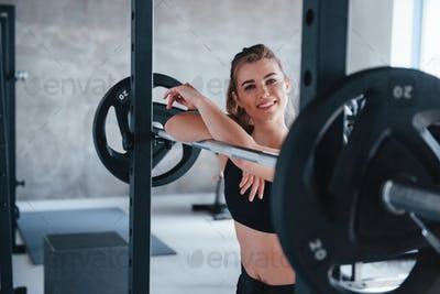 You look good. Photo of gorgeous blonde woman in the gym at her weekend time
