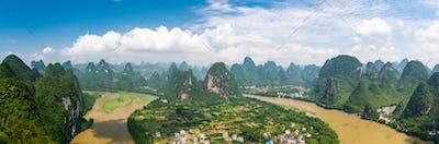 Karst mountain landscape in Xingping, Guangxi Province, China