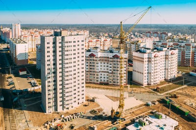 Gomel, Belarus. Construction Crane Is Involved In Construction Of A New Multi-storey Residential
