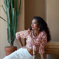 Portrait of mulatto female model