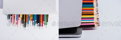 Collage of Colored Pencils in Modern Laptop on White Background, Panoramic Shot