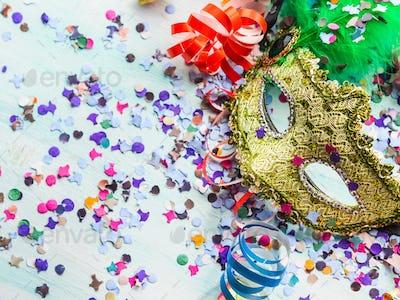 Carnival mask and party decor, confetti