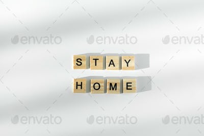 Stay safe written by wooden letters. Healthcare concept. Top view. Quarantine stay home concept.