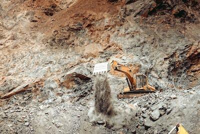 Industrial wheel loader bulldozer, excavator and track type excavator working