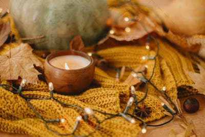 Pumpkins, autumn leaves, candle, warm lights and nuts on yellow knitted sweater