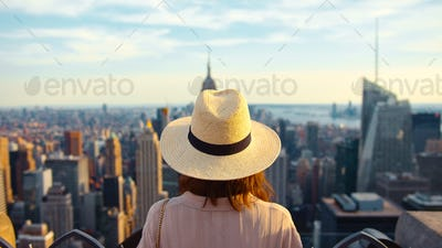 Young tourist in a hat on the roof