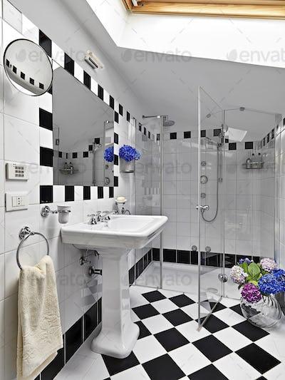 Modern Bathroom Interior in the Attic Room