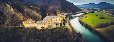 Aerial view of Castle Rabenstein near Frohnleiten, Austria, Styria. Panorama landscape